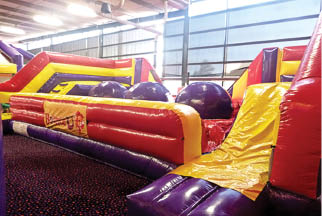 Our indoor inflatable play land - BounceU in Omaha, NE