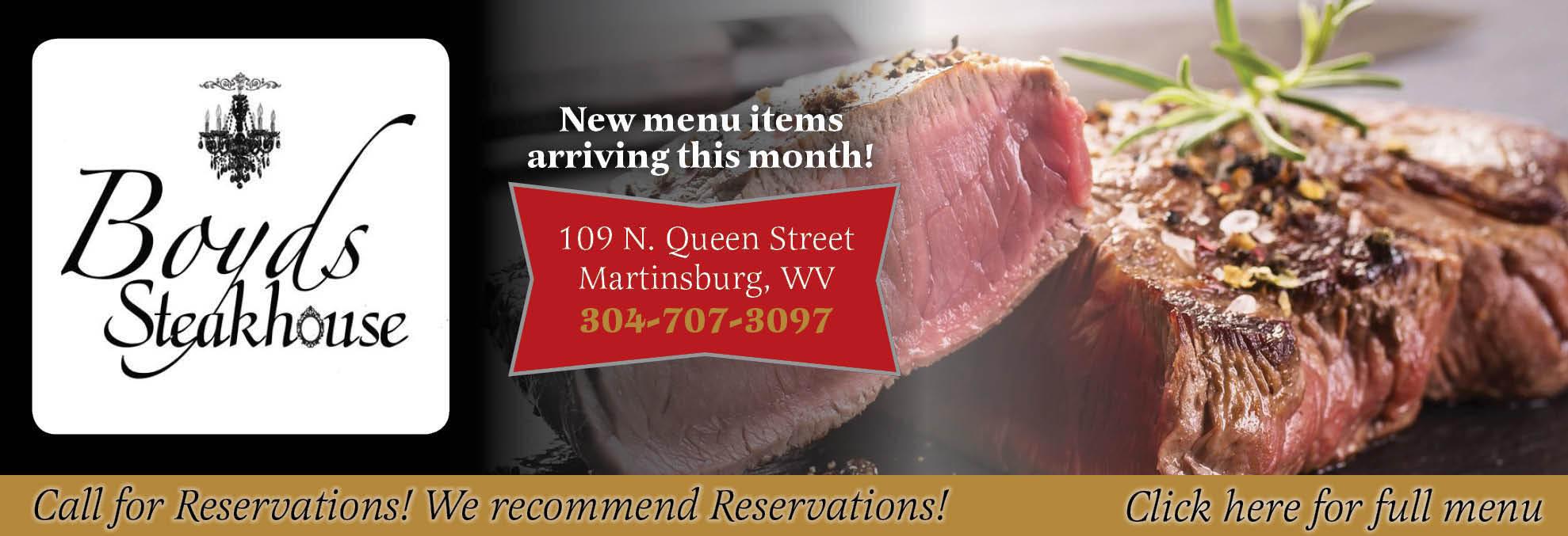 Boyd's Steakhouse, Lunch, Dinner, Brunch, Steak, Seafood,