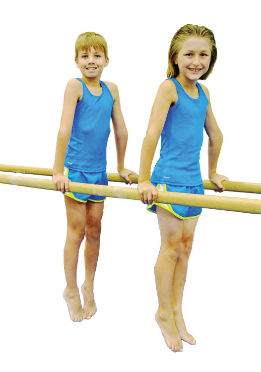 two young gymnasts on parallel bars; youth gymnastics lessons; after school programs Miami