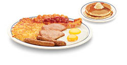 IHOP Eggs, Bacon, hash browns, pancakes