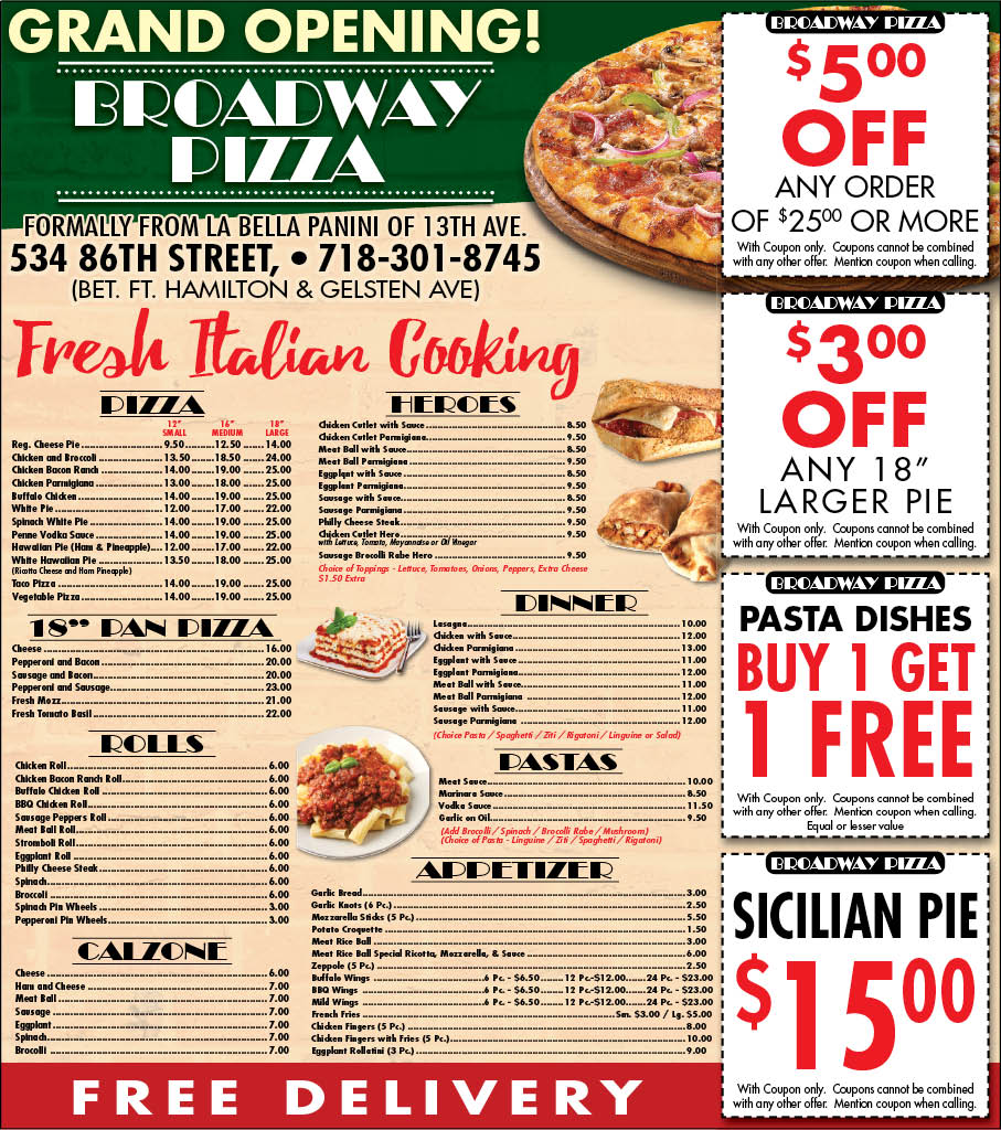 pizza menu, pizza place, pizza menu, calzone, roll, cheese steak, lasagna, pan pizza, garlic bread, heroes, meatballs, eggplant parm, parmesan, parmigiana, New Utrecht, Mapleton, Bensonhurst, Brooklyn