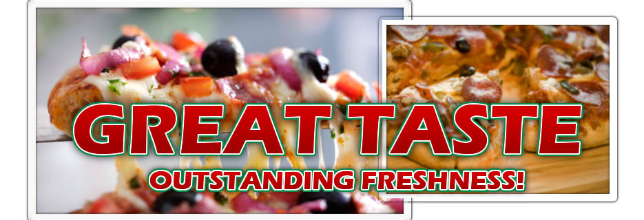 Bronco Billy's Pizza Palace pizzas Great Taste banner