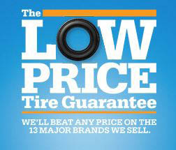 graphic image of low price guarantee offered at Quick Lane Tire & Auto Center at Brondes Ford in Toledo, OH