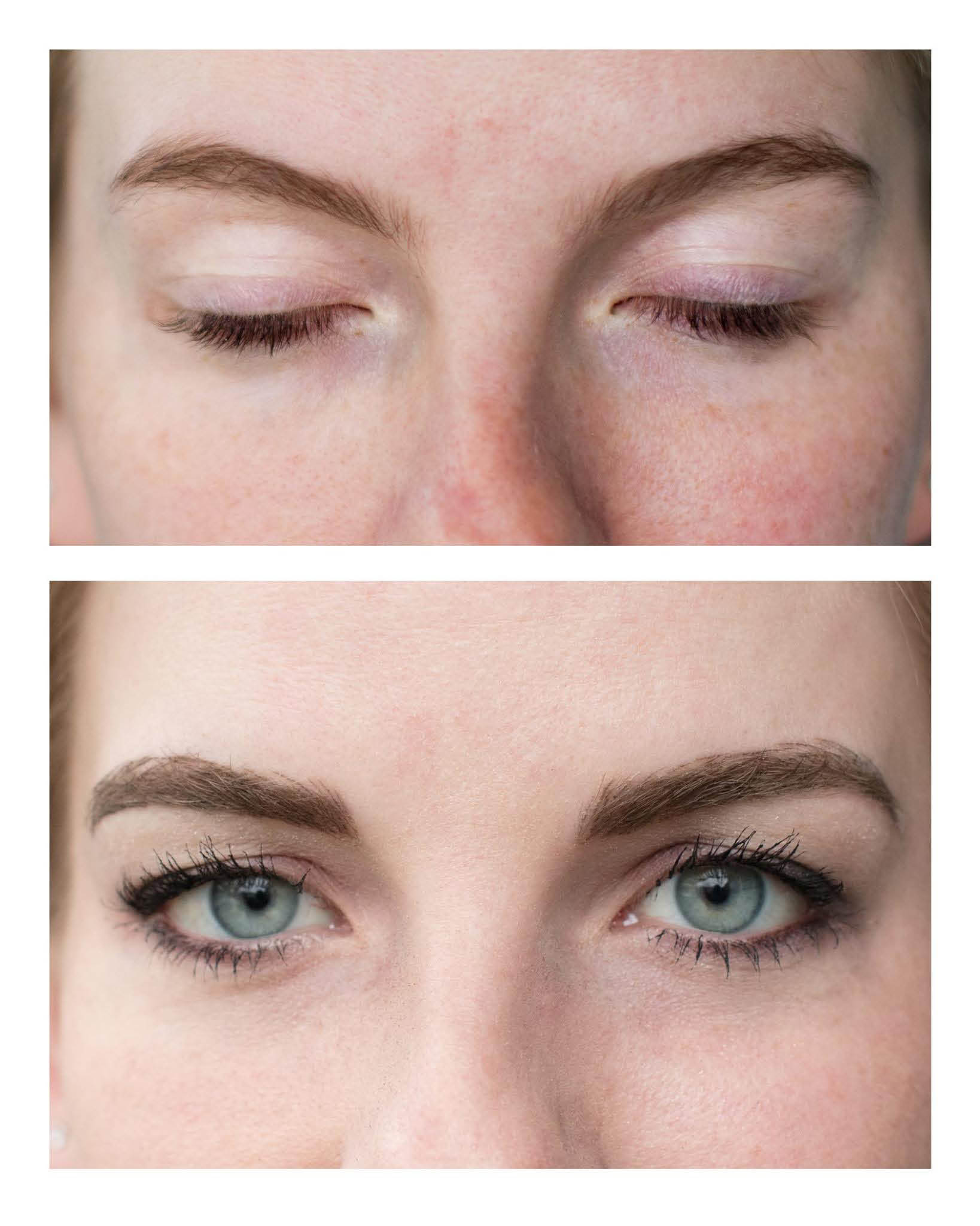 Actual client of Brow Buzz Microblading - photos of before and after microblading - Puyallup, WA