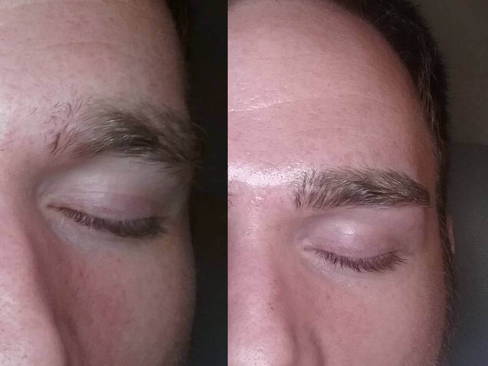 Microblading for men and women at Brow Buzz - before and after microblading on a male client