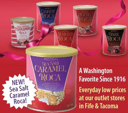 Almond Roca - New Salted Caramel Roca - Brown & Haley Almond Roca Factory Outlet Store in Tacoma, WA - Almond Roca Gift Shop in Fife, WA