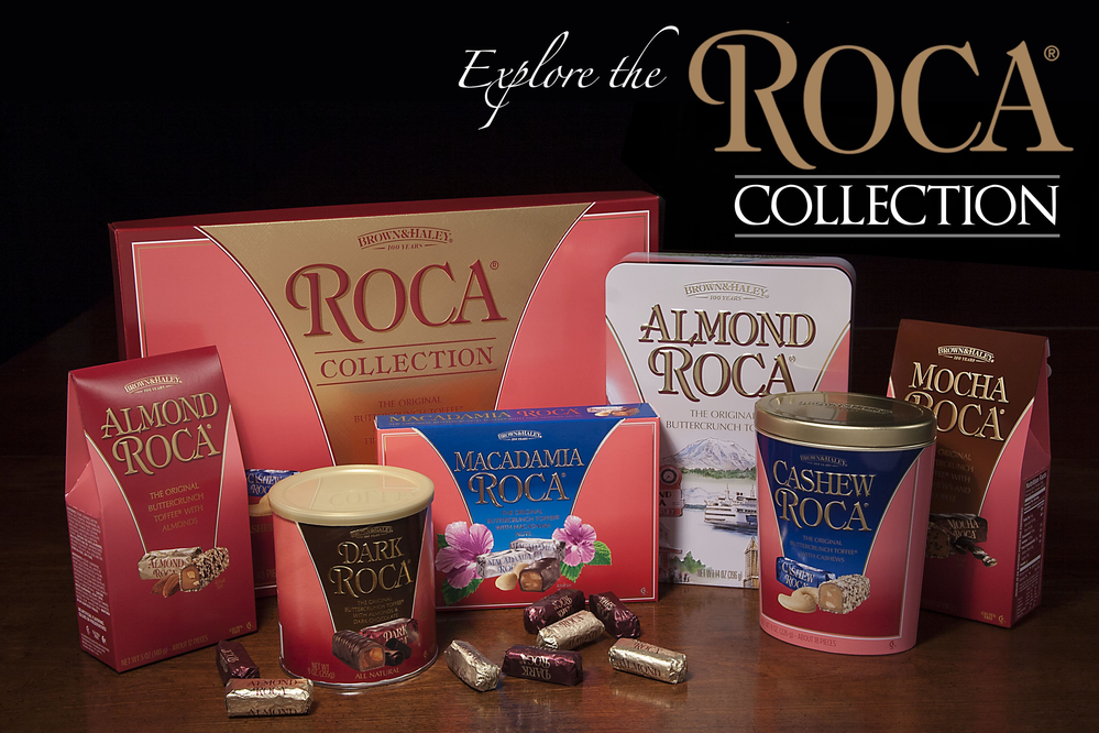 Explore the Roca Collection from Brown & Haley's Almond Roca Factory Oultet Stores - Tacoma, WA - Fife, WA