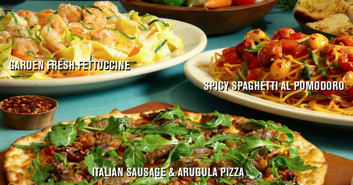 Come in and try our new limited time fresh summer dishes -  Garden Fresh Fettuccine, Italian Sausage and Arugula Pizza, and Spicy Spaghetti al Pomodoro.