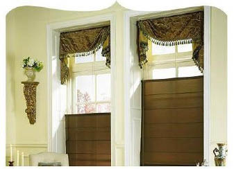 Budget Blinds Roman Shades with Swag Valance