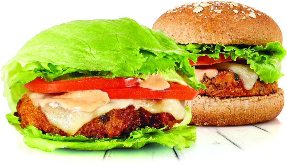 Crispy Quinoa +Pure-Cut Veggie Burger, White Cheddar Cheese, Lettuce, Tomato, Burgerfi Sauce on a Multigrain Bun or Green Style