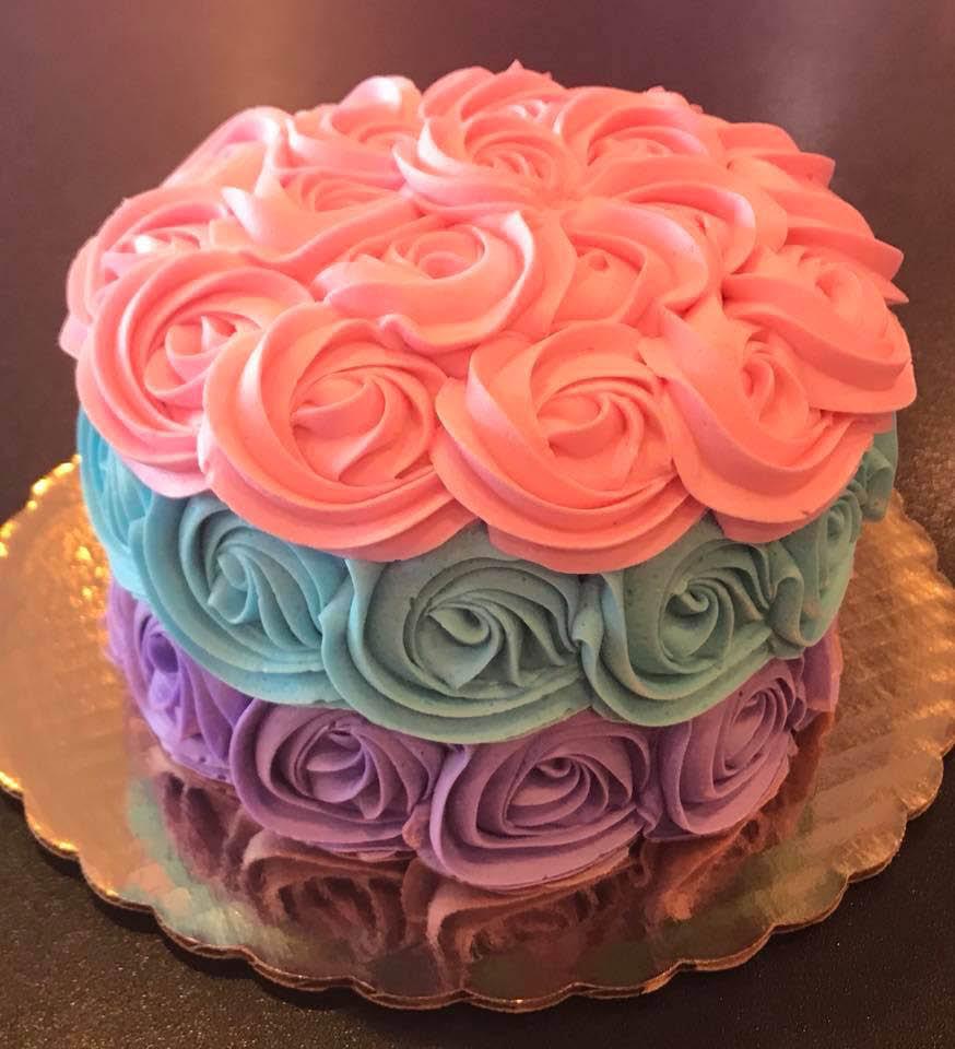 coral-blue-purple-brown-multi-tiered-round-cake-Cupcake-Amore-O'Fallon-MO