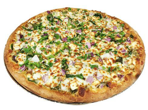 large pizza with many toppings; Chicago's Pizza with a Twist ; Fremont, CA; Freshly prepared