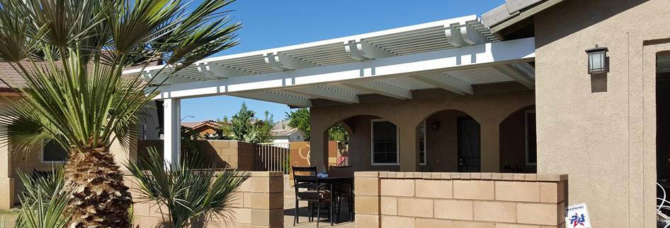 C & S Patio Covers in Indio, CA banner showing house with cover