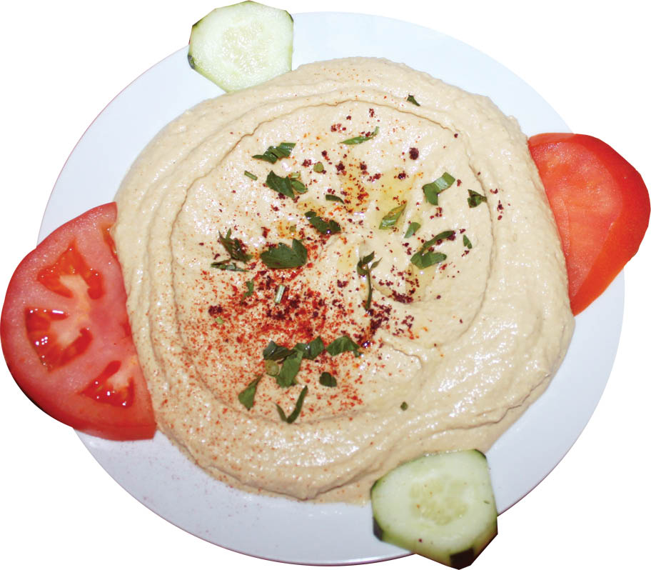 Cafe Orchid Hummus with tomatos and pickles