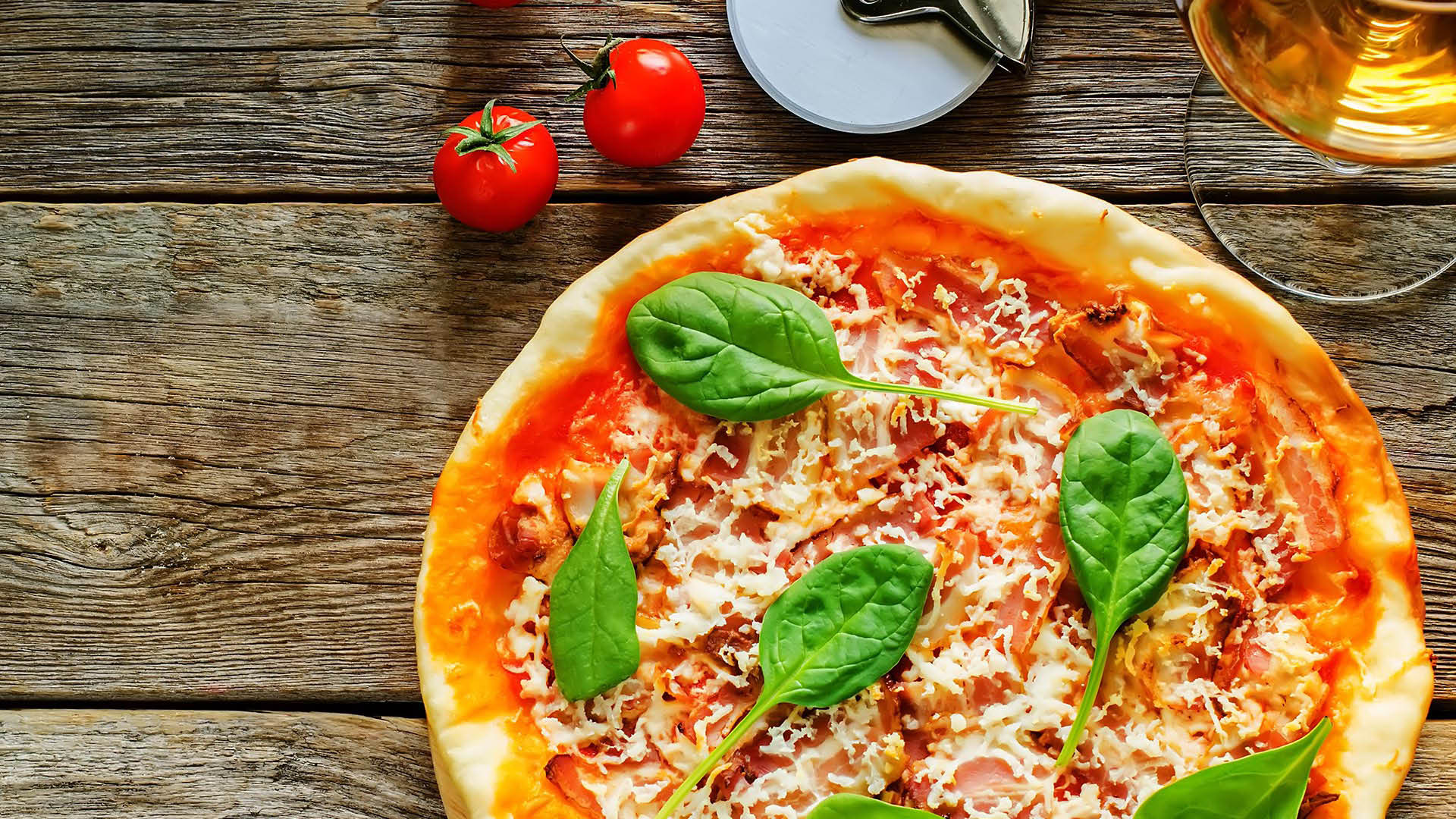 Italian pizza baked in a brick oven