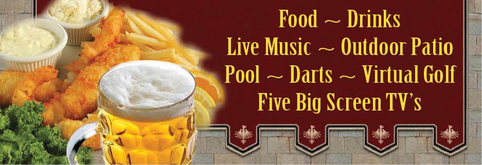 Bar, Grill, Food, Live Music, Pool,Drinks, Patio, Darts, TV