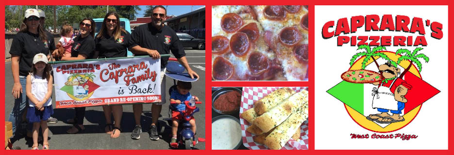 Caprara's Pizzeria family, food and logo banner images