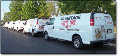 Advantage Kwik Dry has multiple carpet cleaning trucks complete with the latest carpet cleaning equipment to clean your carpet, upholstery or grout today.  You do not wait for your carpets, upholstery and grout to be cleaned.  Call and get cleaned today!