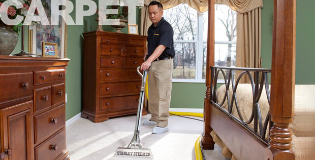 Carpet cleaner steam cleaning carpet by Stanley Steemer in Pueblo