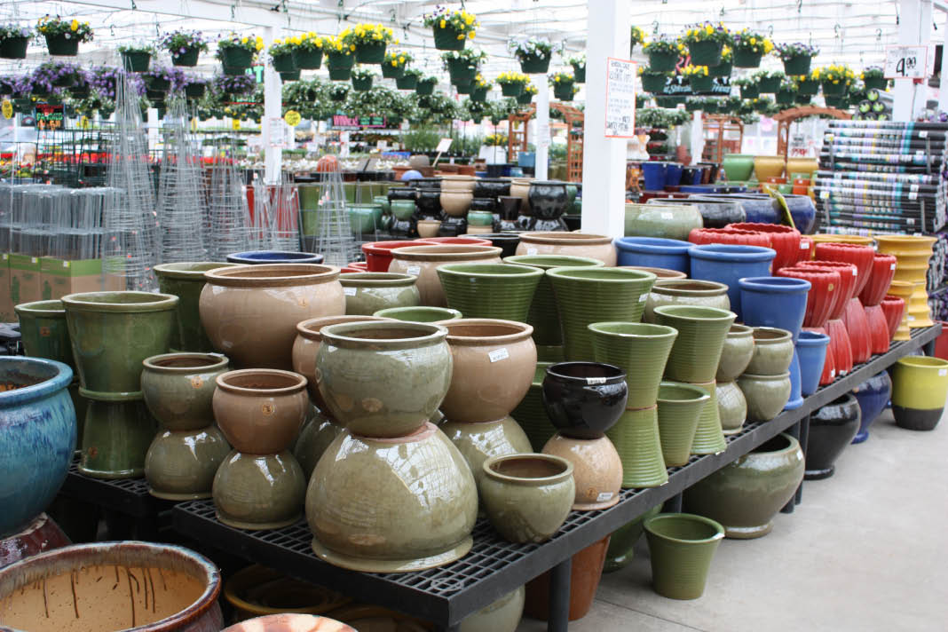 All sizes and colors of ceramic pots