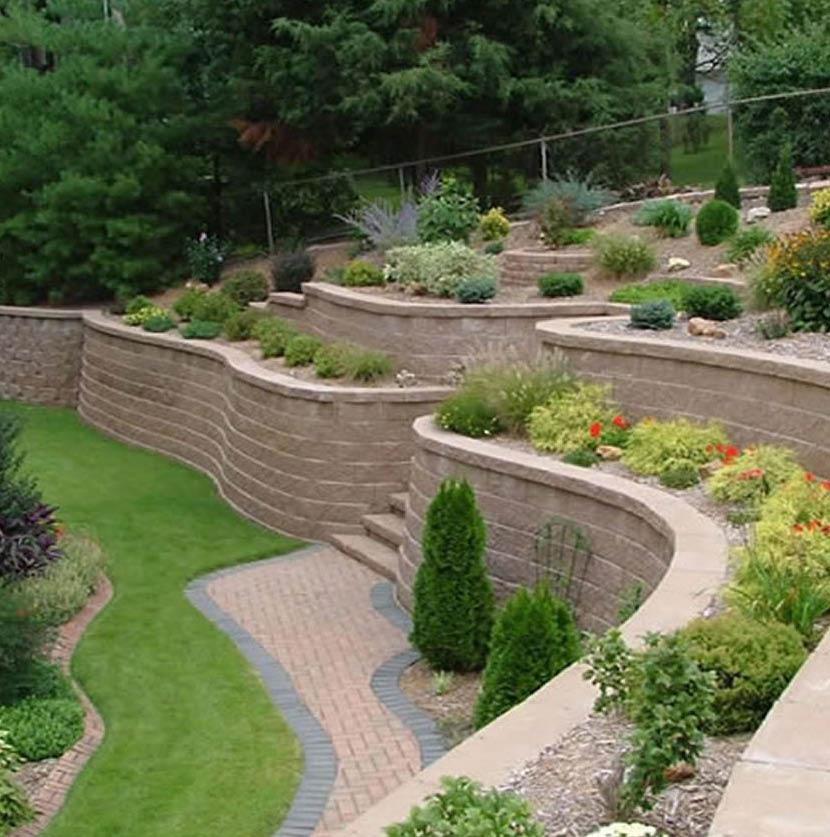 retaining walls, pavers, stone, arbors, trellises, rockeries, fountains, fire pit, conversation pit