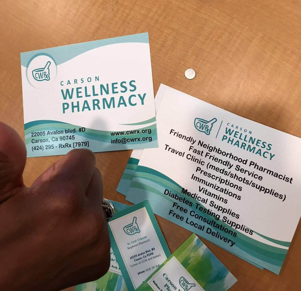 Business card from local pharmacy