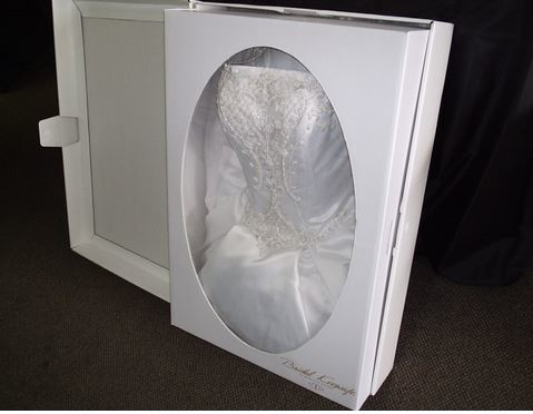photo of preserved wedding gown from Champs Cleaners in Clarkson, MI