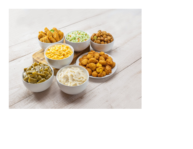 Special side dishes like fries, corn, cole slaw and green beans