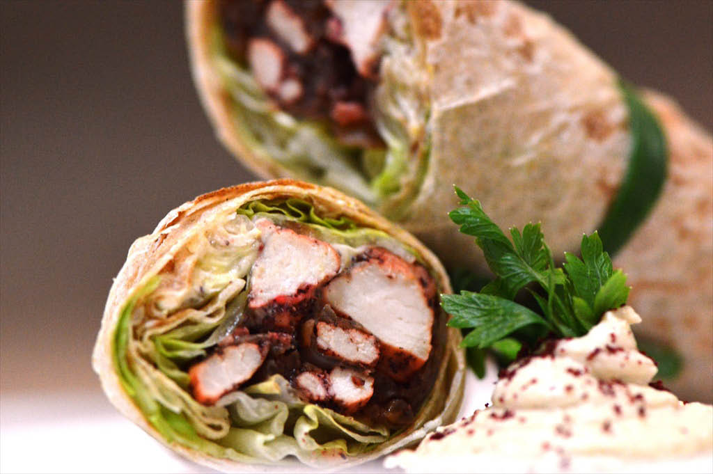 Chicken wrap Middle Eastern food called mousakhan near Pleasanton, CA