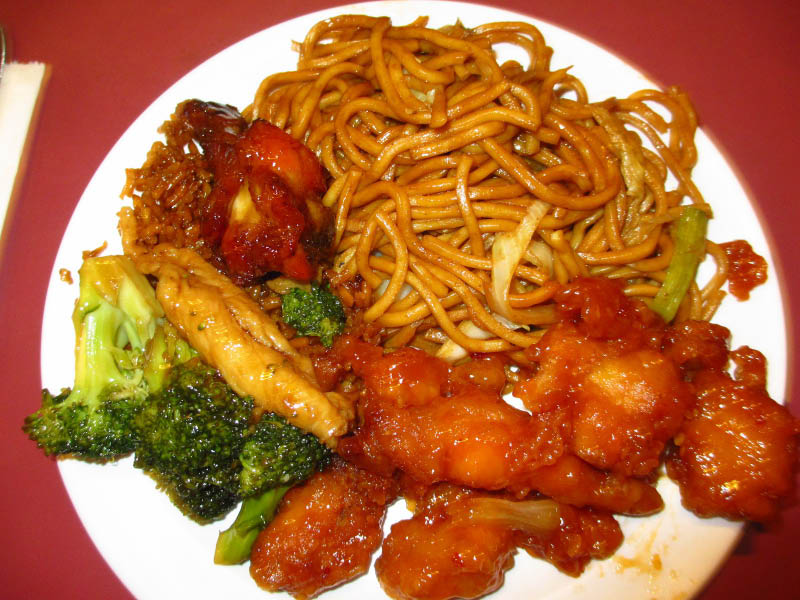 Chinese Buffet Plate - Noodles, Organge Chicken, Broccoli