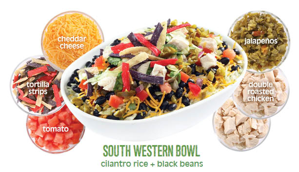 Southwestern bowls at healthy restaurants