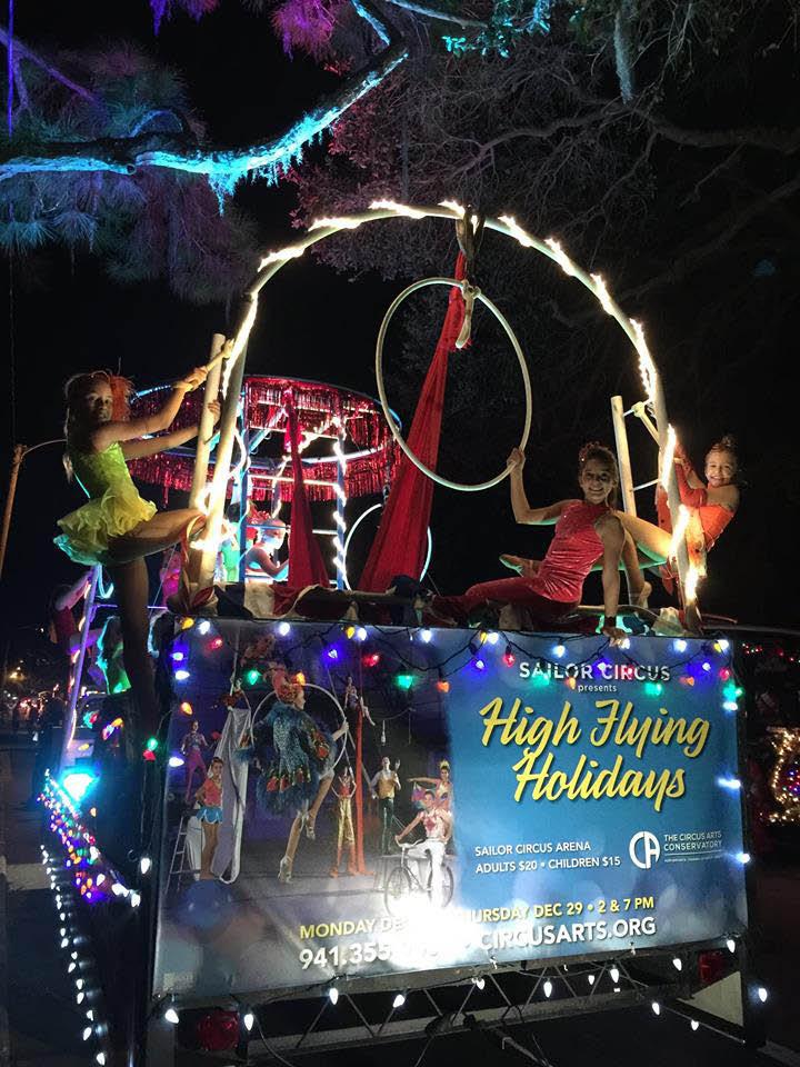 Sailor Circus High Flying Holidays float near Brandenton, FL.