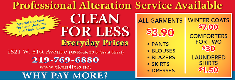 Clean For Less in Merrillville, Indiana banner