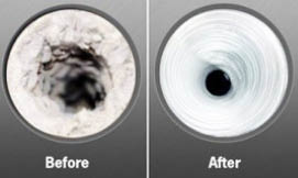 Before and after of duct cleaning by ClearAir America