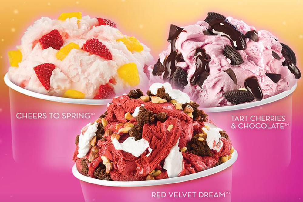 Cold Stone Creamery ice cream cups.