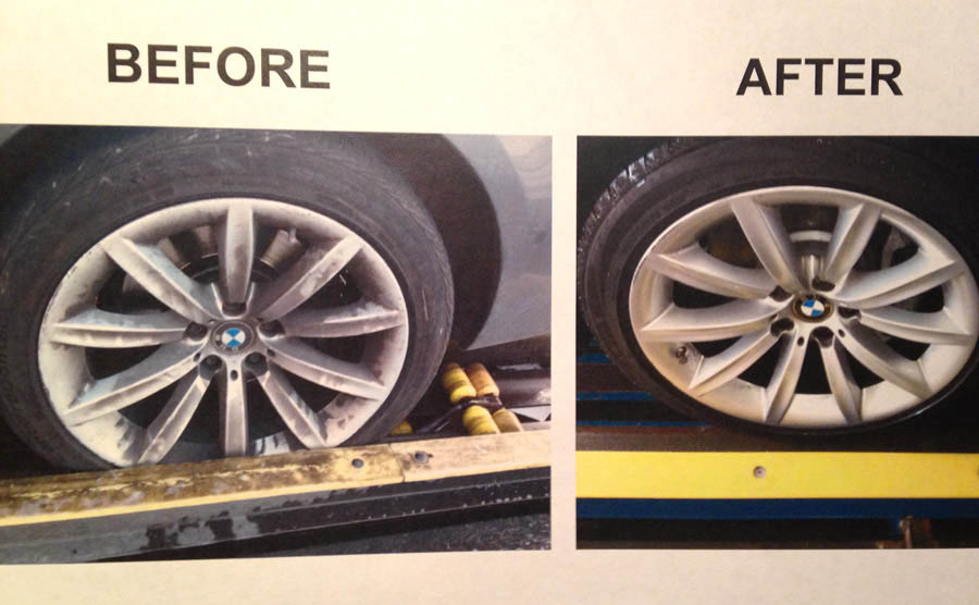 Before and after wheel cleaning Colonial Car Wash wheel cleaning