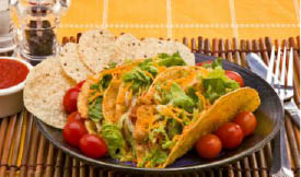 Tortillas, Hard Shell Tacos, Tacos, Beef Tacos, Lettuce, Tomatoes, Sour Cream, Shredded Cheese, Mexican,