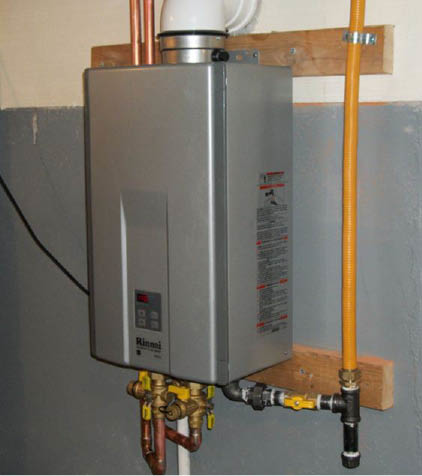 Space-saving, demand heat, tankless water heater is energy-efficient.