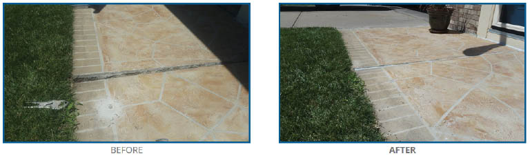 Before and after sunken concrete in Omaha, NE