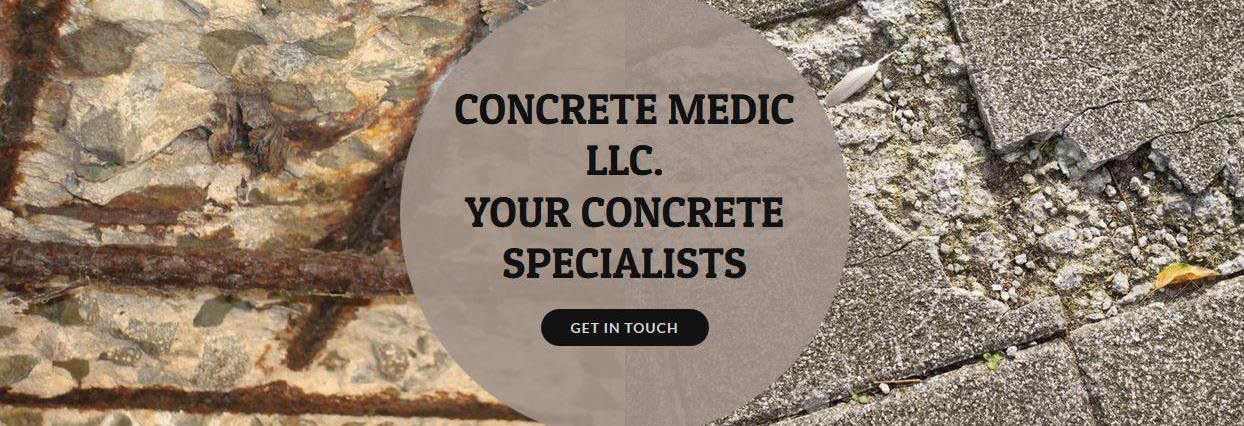 Concrete Medic banner showing cracks and other concrete problems