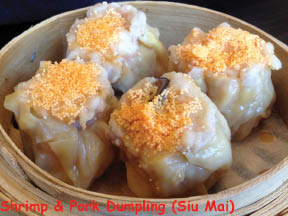 Shrimp and pork dumplings and dim sum served at Cooking Papa