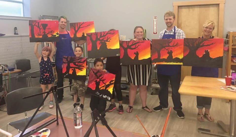 Group painting classes at Create! Art Center in Kent, Washington - multipurpose art studio - Kent art classes - Kent painting classes - painting class coupons