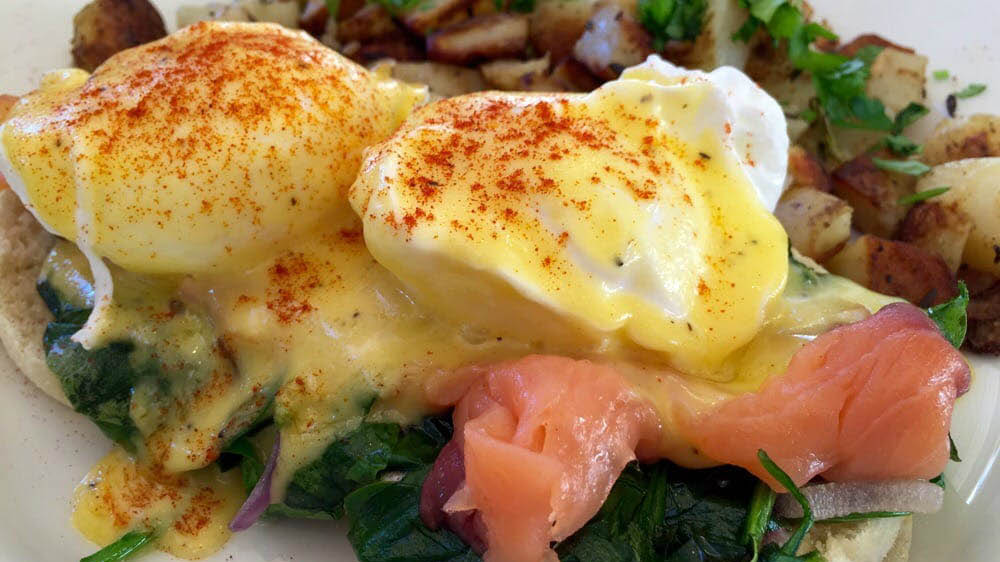 Cote D'Azur Benediction with smoke salmon, spinach and red onions near Berkeley, CA