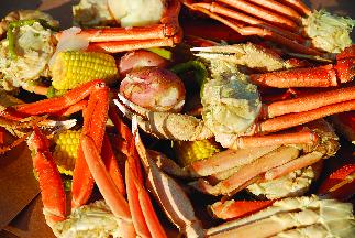 Crab legs, potatoes & corn