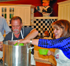Professional chefs teach adults how to prepare meals