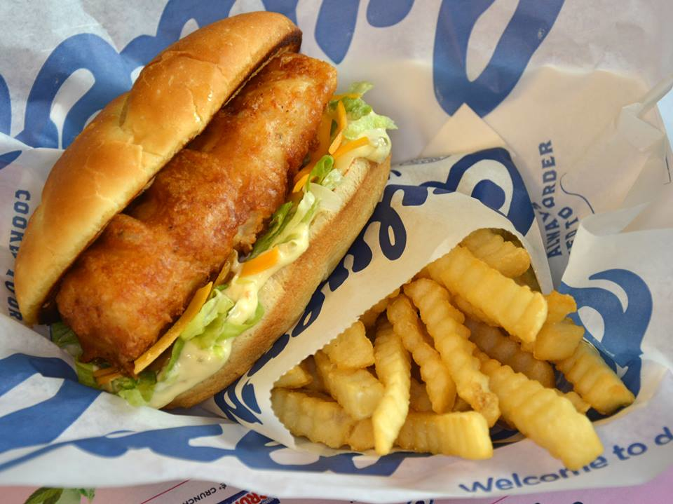 North Atlantic cod fish filet sandwich and fries