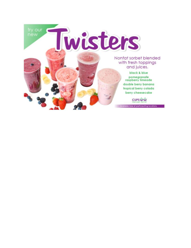 Twisters available at Cups Frozen Yogurt in Fair Lawn NJ