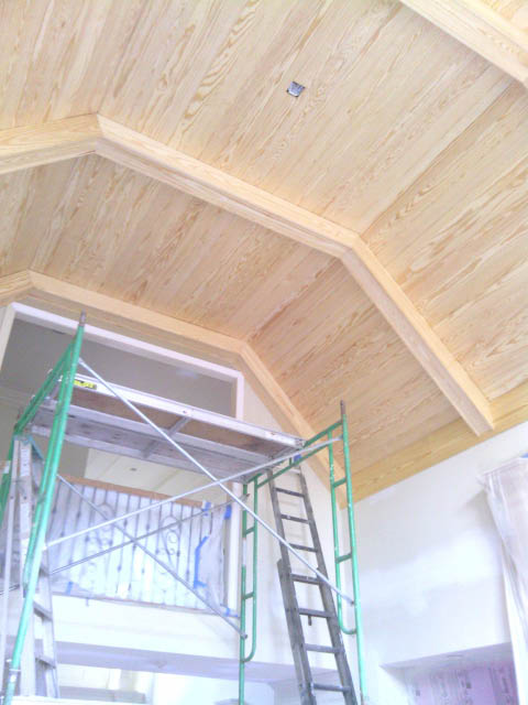 Beamed, hand crafted cathedral ceiling