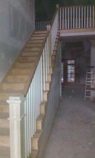 Wooden stairway and railings