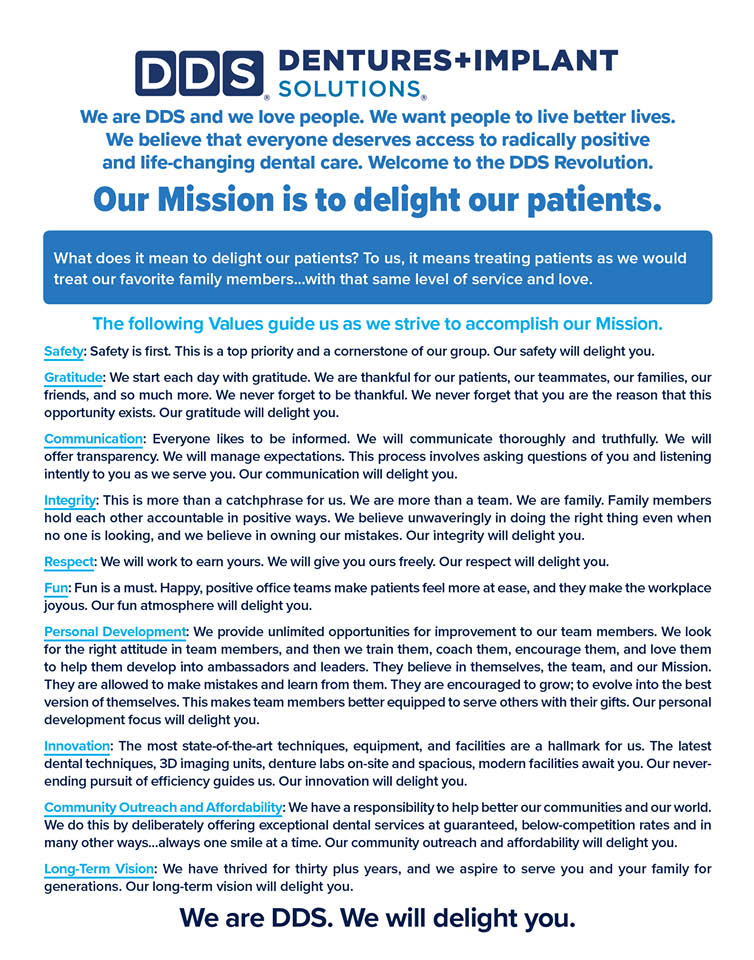 DDS Dentures and Implant Solutions Mission Statement for patient care in Olive Branch, MS